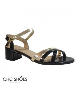 Sandales noires et dorées -CHC SHOES- Ref: 0828