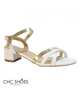 Sandales blanches et dorées -CHC SHOES- Ref: 0827